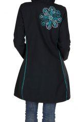 Manteau Bleu marine long en coton avec doublure polaire et broderie fantaisie Othella 300299