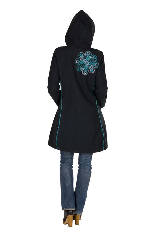 Manteau Bleu marine long en coton avec doublure polaire et broderie fantaisie Othella 300300
