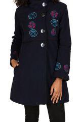Manteau Bleu marine original à broderie en polaire à col montant Daniela 300305