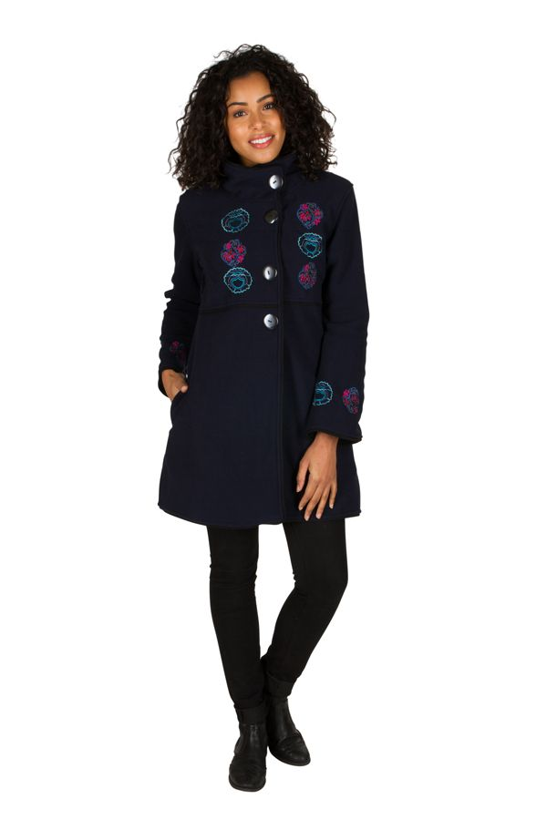 Manteau Bleu marine original à broderie en polaire à col montant Daniela 300306