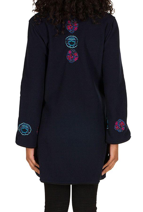 Manteau Bleu marine original à broderie en polaire à col montant Daniela 300307