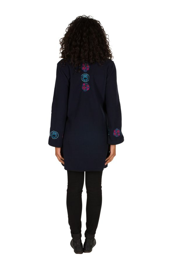 Manteau Bleu marine original à broderie en polaire à col montant Daniela 300308