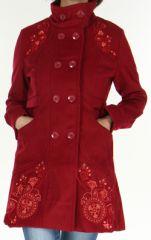Manteau brodé Original et Coloré pour Femme Antarc Bordeaux 277663