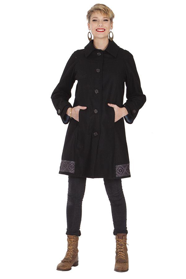 Manteau brodé pour femme Ethnique et Chic Diamond Noir 285676