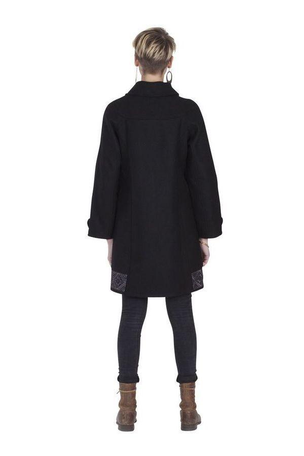 Manteau brodé pour femme Ethnique et Chic Diamond Noir 285677