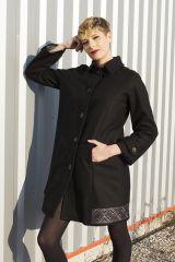 Manteau brodé pour femme Ethnique et Chic Diamond Noir 285678