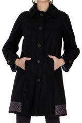 Manteau brodé pour femme Ethnique et Chic Diamond Noir 286678
