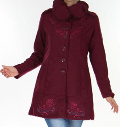 Manteau cintré pour Femme Original et Chic Galcow Prune 277440