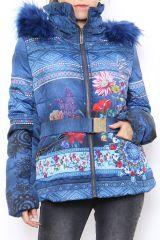 Manteau court bleu pour femme imprimé ethnique Zala 304294
