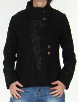 Manteau court Chic et Original style Officier pour Femme Rico Noir 278423