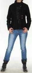 Manteau court Chic et Original style Officier pour Femme Rico Noir 278424