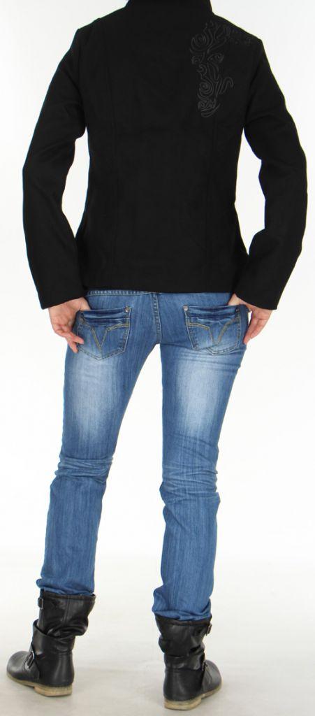 manteau court chic et original style officier pour femme rico noir. Black Bedroom Furniture Sets. Home Design Ideas