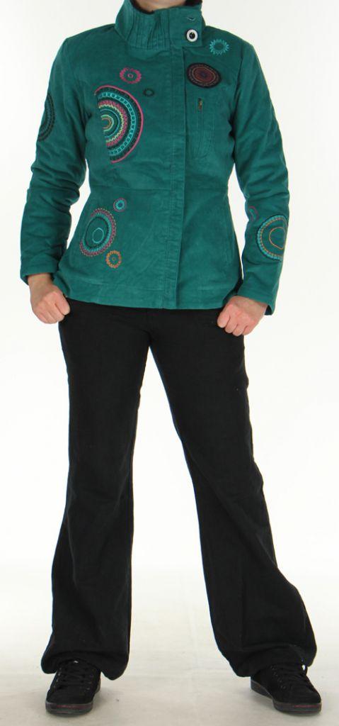 Manteau court Ethnique et Original pour femme  Samael Emeraude 276167