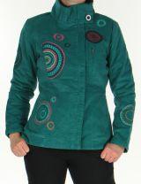 Manteau court Ethnique et Original pour femme  Samael Emeraude 305734