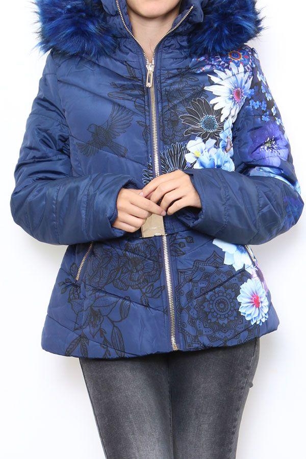 Manteau court femme bleu imprimé de fleurs Cathy 304266