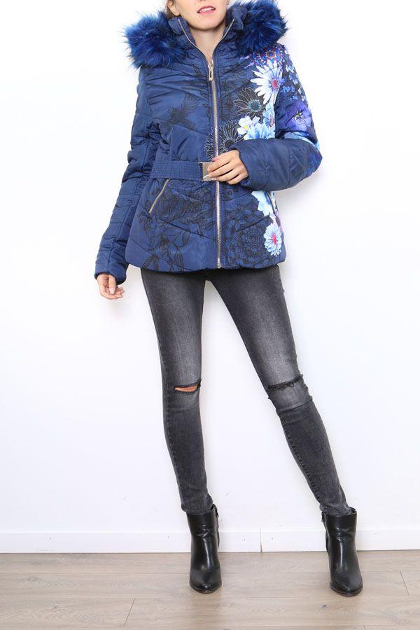 Manteau court femme bleu imprimé de fleurs Cathy 304267