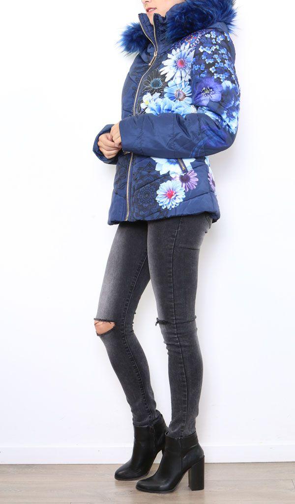 Manteau court femme bleu imprimé de fleurs Cathy 304268