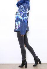 Manteau court femme bleu imprimé de fleurs Cathy 304269