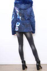 Manteau court femme bleu imprimé de fleurs Cathy 304270