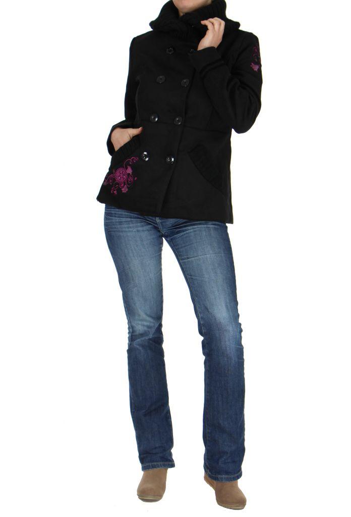 Manteau court noir broderie floral 265290