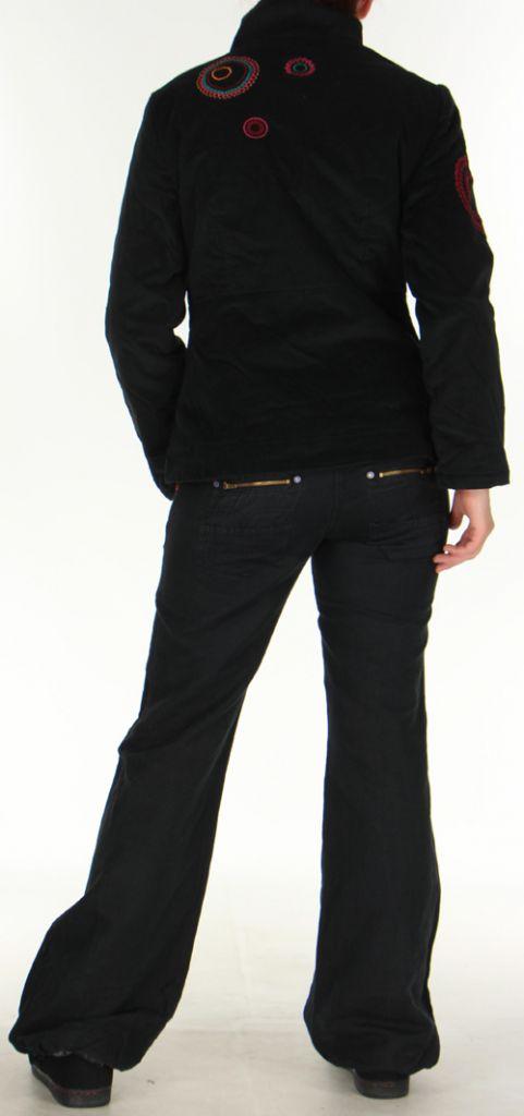 Manteau court pour femme Ethnique et Original Samael Noir 276162