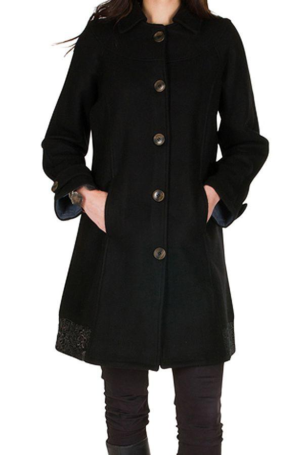 Manteau en laine avec doublure coton et fermeture boutons Olvi 300725