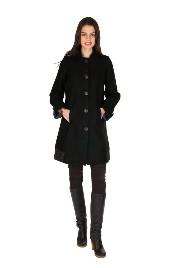 Manteau en laine avec doublure coton et fermeture boutons Olvi 300727