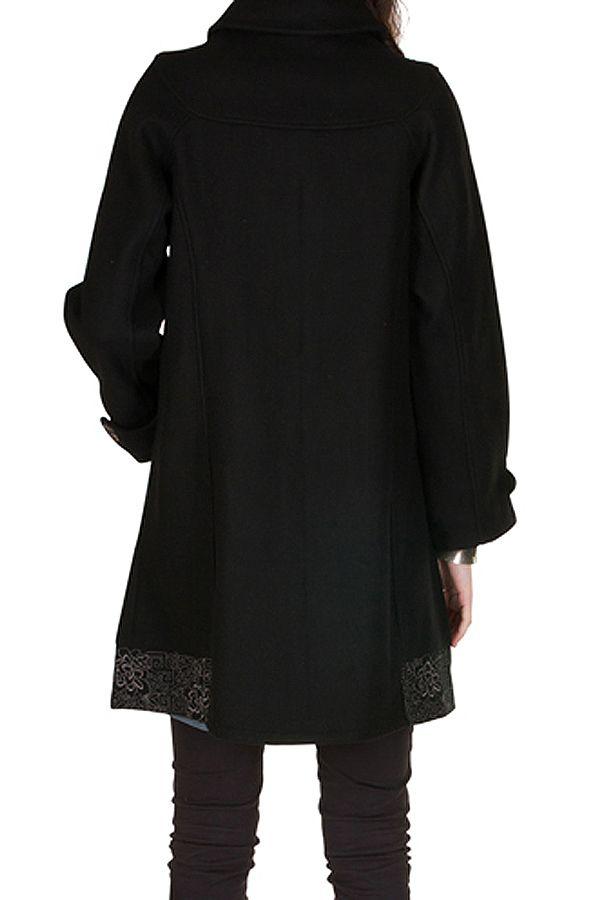 Manteau en laine avec doublure coton et fermeture boutons Olvi 300728