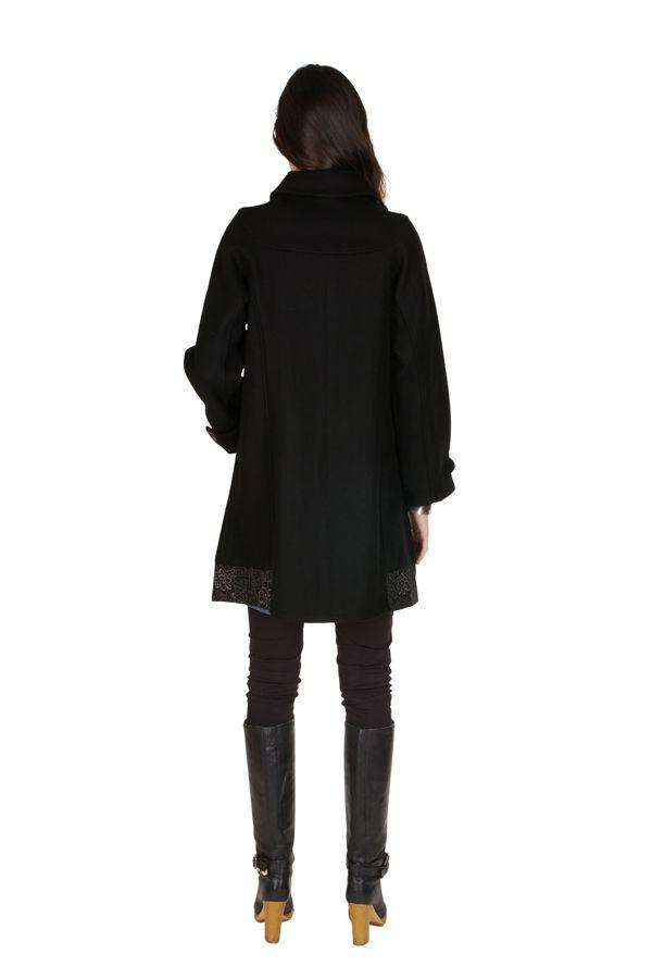 Manteau en laine avec doublure coton et fermeture boutons Olvi 300729