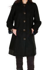 Manteau en laine avec doublure polyester et fermeture boutons Olvi 300725
