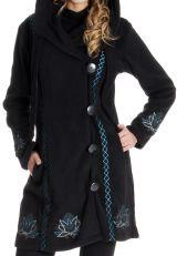 Manteau en Polaire à capuche Ethnique et Original Carter Noir 286880