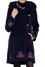 Manteau en polaire Ethnique et Original Devon Bleu nuit 286890