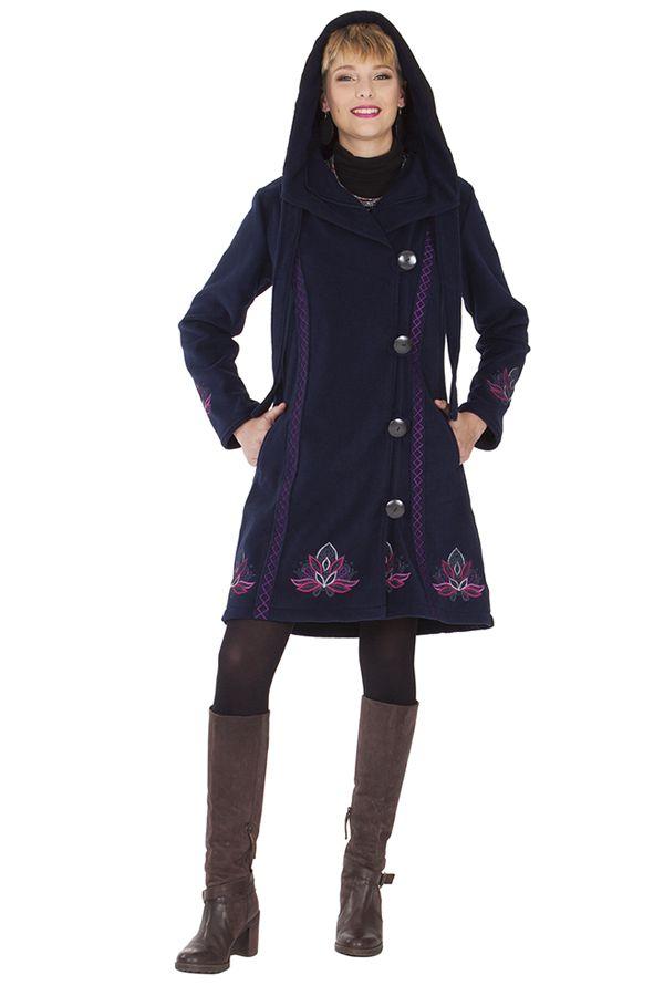 Manteau en polaire Ethnique et Original Devon Bleu nuit 286893