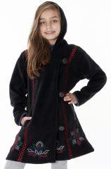 Manteau en polaire pour fille avec capuche de couleur noir 287621