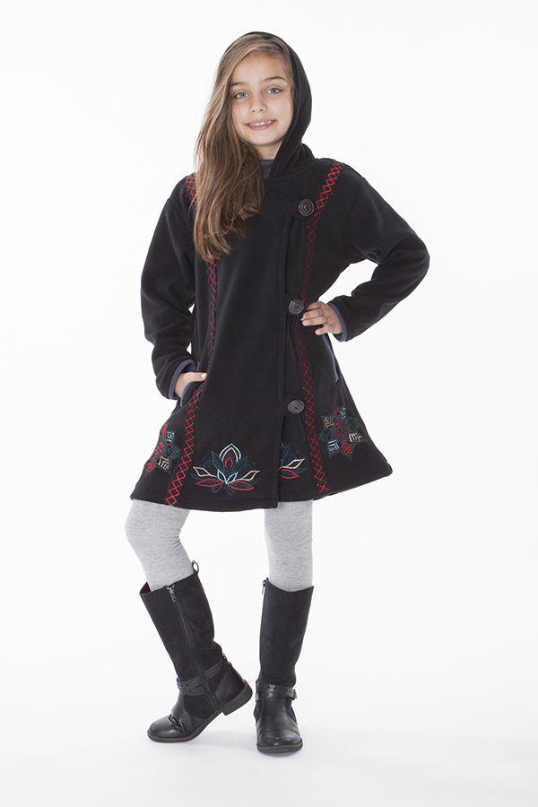 Manteau en polaire pour fille avec capuche de couleur noir 287622