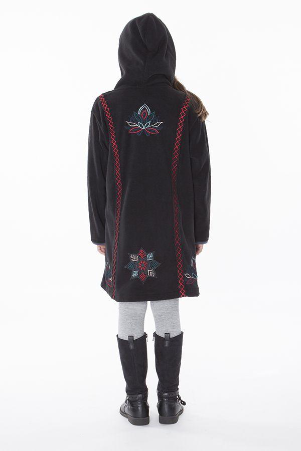 Manteau en polaire pour fille avec capuche de couleur noir 287623