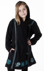 Manteau enfant en polaire de couleur noir 287618