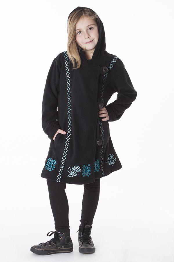 Manteau enfant en polaire de couleur noir 287619