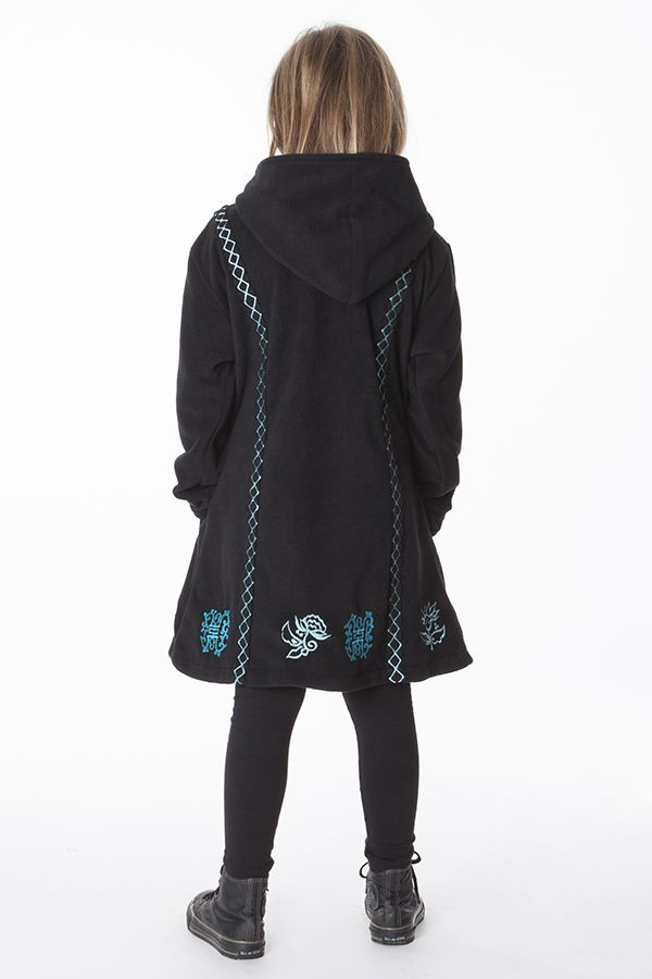 Manteau enfant en polaire de couleur noir 287620