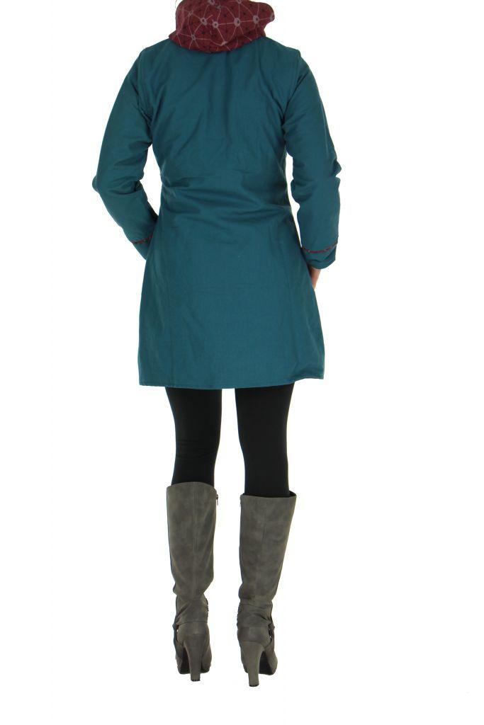 Manteau femme à capuche bleu Enza 266855