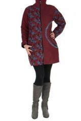 Manteau femme bordeaux coloré original Lily 266824