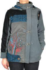 Manteau femme court à capuche original Sika gris 305139