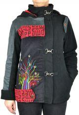 Manteau femme court à capuche original Sika noir 305143