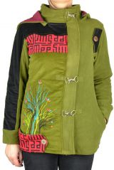 Manteau femme court à capuche original Sika vert 305135