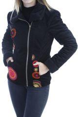 Manteau femme court chaud et original de couleur noir Ohya 305082
