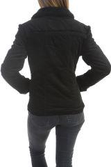 Manteau femme court chaud et original de couleur noir Ohya 305084