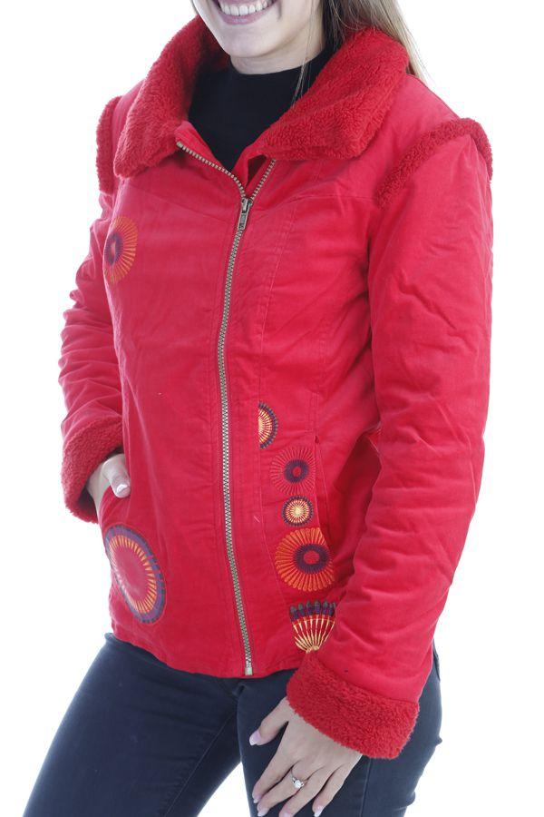 Manteau femme court chaud et original de couleur rouge Ohya