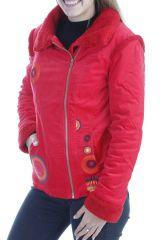 Manteau femme court chaud et original de couleur rouge Ohya 305076