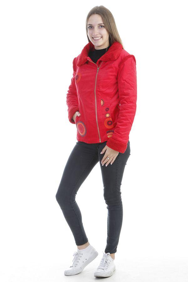 Manteau femme court chaud et original de couleur rouge Ohya 305077