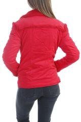Manteau femme court chaud et original de couleur rouge Ohya 305078